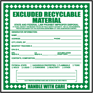 Excluded Recyclable Material Waste Label