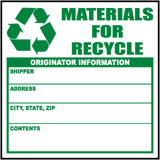 Materials For Recycle Originator Information Waste Label