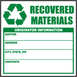 Recovered Materials Originator Information Waste Label