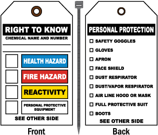 Right To Know/PPE NFPA Tag