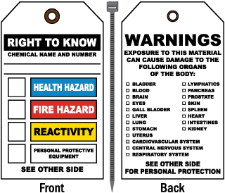 Right To Know/Warnings NFPA Tag