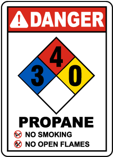 Danger Propane No Smoking No Open Flames NFPA Rating  3-4-0