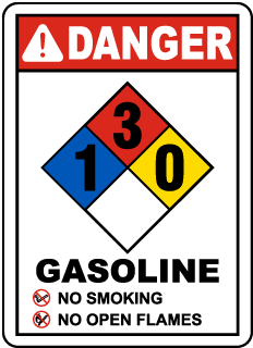Danger Gasoline No Smoking No Open Flames NFPA Rating 1-3-0