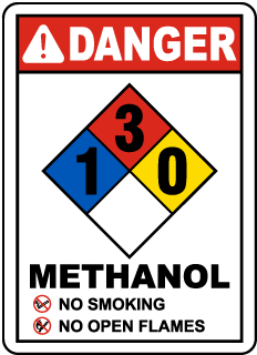 Danger Methanol No Smoking No Open Flames NFPA Rating 1-3-0