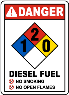 Danger Diesel Fuel No Smoking No Open Flames NFPA Rating  1-2-0
