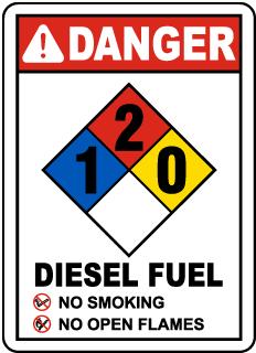 NFPA Diesel Fuel 1-2-0 Sign