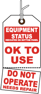Equipment Status Indicated On Bottom Panel Tag