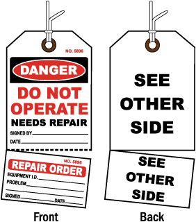 Danger Do Not Operate Needs Repair Tag