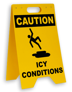 Caution Icy Conditions Floor Stand