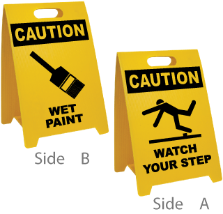 Caution Wet Paint - Caution Watch Your Step Floor Stand