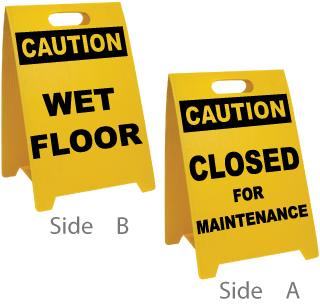 Caution Wet Floor - Caution Closed For Maintenance Floor Stand