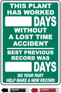 This Plant Has Worked Days Without A Lost Time Accident Safety Scoreboard Sign