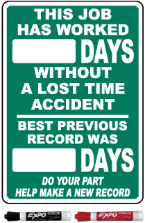 This Job Has Worked Days Without A Lost Time Accident Safety Scoreboard Sign