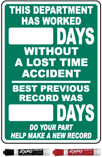 This Department Has Worked Days Without A Lost Time Accident Safety Scoreboard Sign