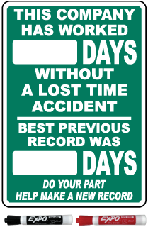 This Company Has Worked Days Without A Lost Time Accident Safety Scoreboard Sign