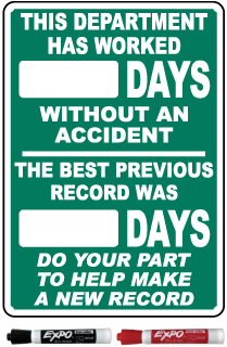 This Department Has Worked Days Without An Accident Safety Scoreboard Sign
