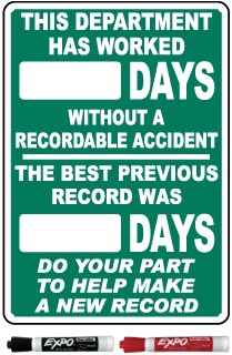 This Department Has Worked Days Without A Recordable Accident Safety Scoreboard Sign