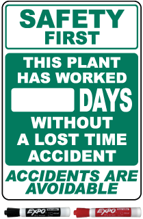 Safety First This Plant Has Worked Days Without A Lost Time Accident Safety Scoreboard Sign