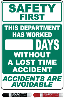 Safety First This Department Has Worked Days Without A Lost Time Safety Scoreboard Sign