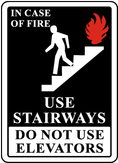In Case Of Fire Use Stairways Do Not Use Elevators Signs