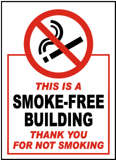 This Is A Smoke-Free Building Thank You For Not Smoking Label
