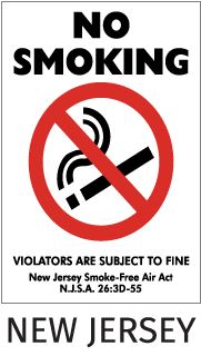 No Smoking Violators Are Subject To Fine New Jersey Smoke-Free Air Act NJSA 26:3D-55 Sign