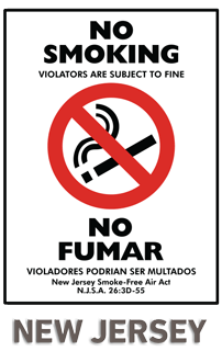 No Smoking Violators Are Subject To Fine No Fumar Violadores Podrian Ser Multados New Jersey Smoke-Free Air Act NJSA 26:3D-55 Sign