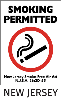 Smoking Permitted New Jersey Smoke-Free Air Act NJSA 26:3D-55 Sign