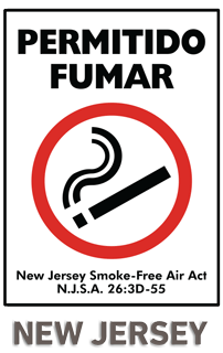 Permitido Fumar New Jersey Smoke-Free Air Act NJSA 26:3D-55 Sign