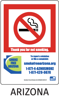 Arizona Thank you for not smoking To report a violation or file a complaint..