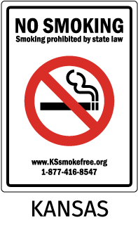 Kansas No Smoking Smoking prohibited by state law. www.KSsmokefree.org 1-877-416-8547