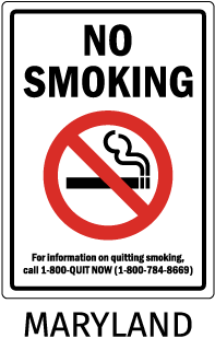 Maryland No Smoking For information on quitting smoking call..