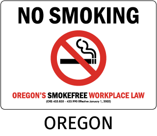 Oregon No Smoking Oregon's Smokefree Workplace Law (ORS 433.835 - 433.990 Effective January 1, 2002)