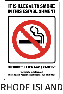 Rhode Island It Is Illegal To Smoke In This Establishment Pursuant To R.I. Gen. Laws 23-20-10-7..