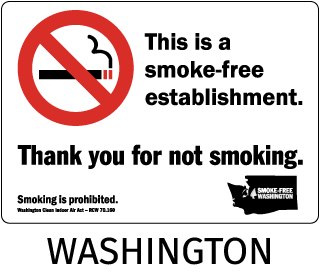 Washington This is a smoke-free establishment. Thank you for not smoking..