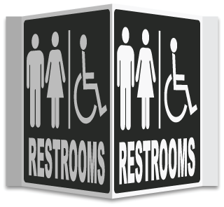 Restrooms with Men, Women & Accessible 3-Way Sign