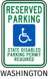 Washington Handicapped sign-Reserved Parking State Disabled Parking Permit Required