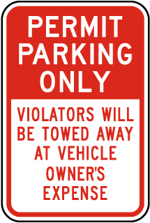 Permit Parking Only Violators Will Be Towed Away