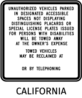 Unauthorized Vehicles Parked In Designated Accessible Spaces Not Displaying.. Sign