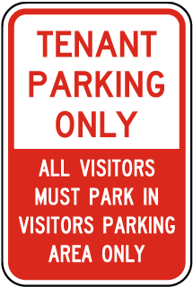 Tenant Parking Only All Visitors Must Park In Visitors Parking Area Only Sign