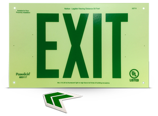Photoluminescent Unframed Green Exit Sign