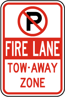"Fire Lane Tow-Away Zone Sign with ""P"" symbol"