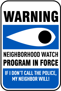 Warning Neighborhood Watch Sign Program In Force If I don't Call the Police. My Neighbor Will! Sign