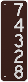 Brown Vertical 911 Address Sign