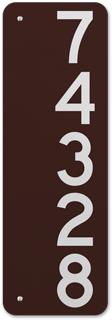 Brown Vertical 911 Address Sign