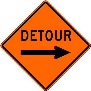 Detour Sign with right arrow