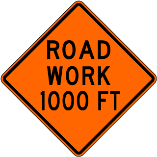 Road Work 1000 FT Sign