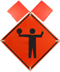 Stop Ahead Symbol with Flags Sign