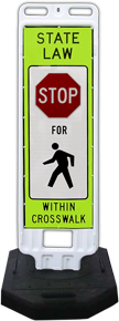 In-Street Stop for Pedestrians Crossing Sign with 28lb. Rubber Base