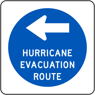 Hurricane Evacuation Route Sign with left arrow
